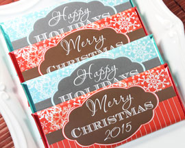 Christmas and Happy Holidays Candy Bars
