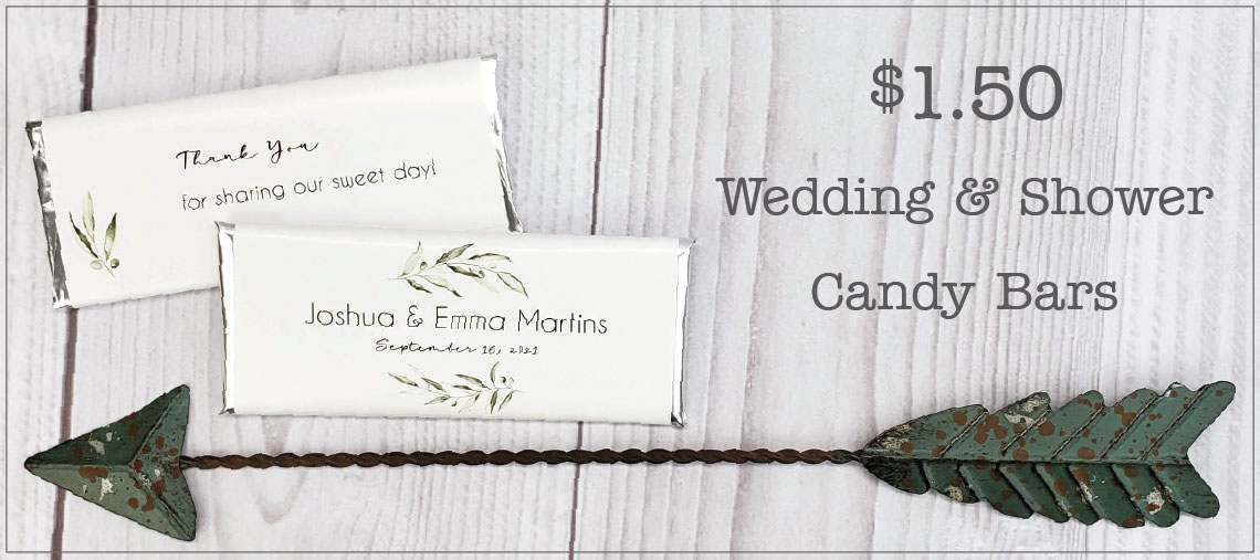 30 percent off wedding personalized candy bars from Candy Wrapper Store