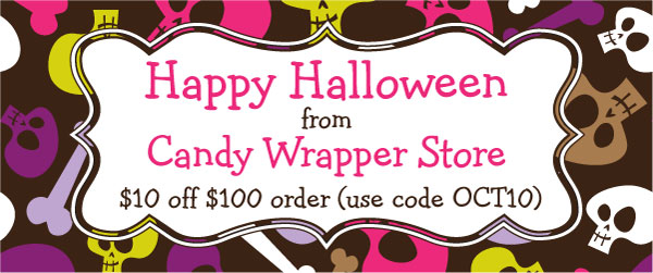 Halloween Discount code for Candy Wrapper Store