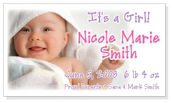 Its a Girl Photo Birth Announcement Magnets