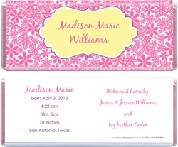 Whimsical Flower Background Birth Announcement Candy Bar Wrapper