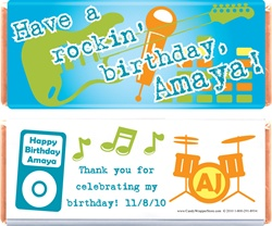 Rockin Birthday Candy Bar Wrappers