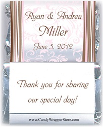 Miniature Wedding Wavy Stripes Candy Bar Wrapper