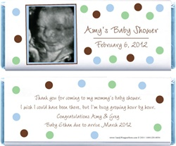 Blue and Green Dots Baby Shower Photo Candy Bar Wrappers