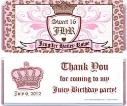 Juicy Couture Theme Birthday Candy Bar Wrapper
