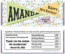 Pennant Flag Birthday Candy Bar Wrapper