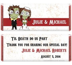 Zombie themed wedding candy bar wrapper