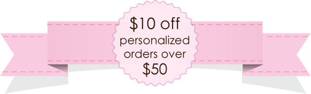 $10 off $50 personalized wrapper sale