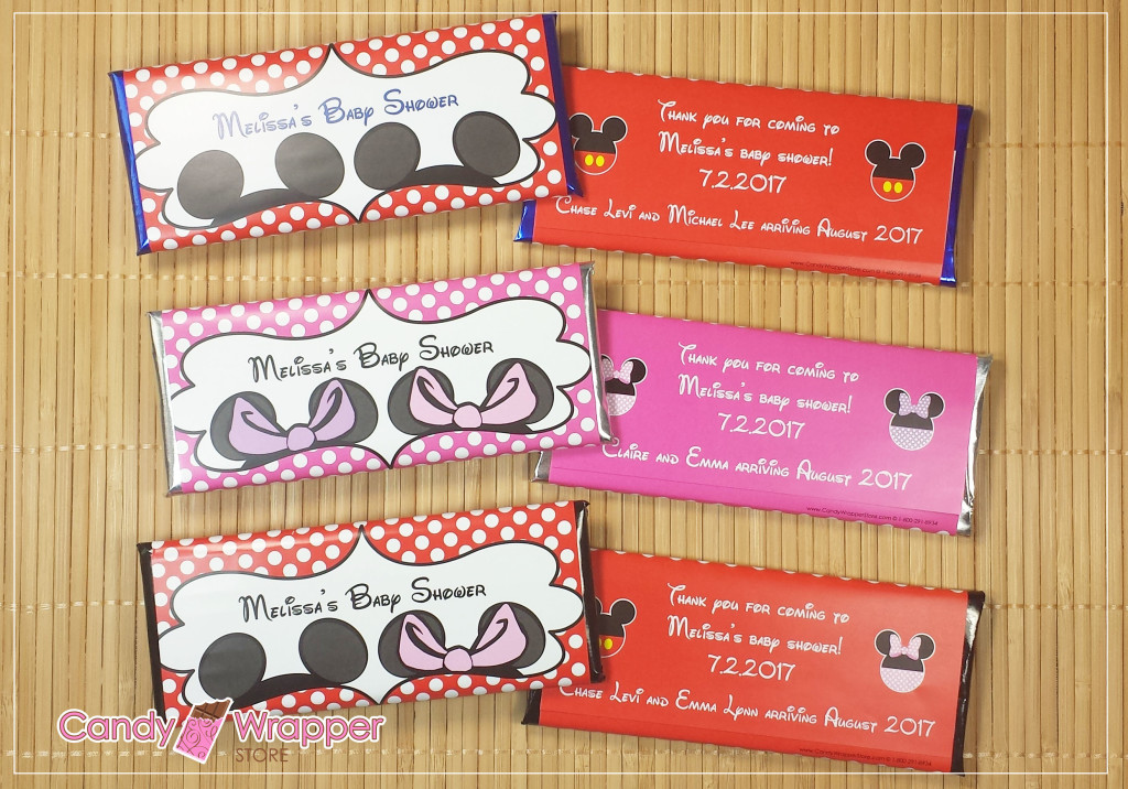 New Minnie And Mickey Baby Shower Personalized Candy Bar Favors